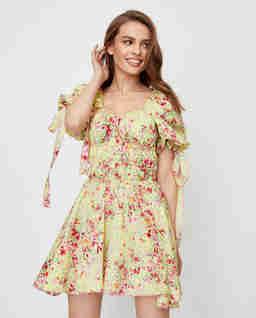 Żółta sukienka w kwiaty Paloma
