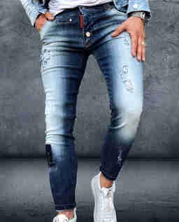 Niebieskie jeansy z przetarciami After Burn