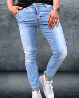 Jasno niebieskie jeansy z przetarciami Steppenwolf