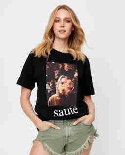 Czarny t-shirt SAUTE
