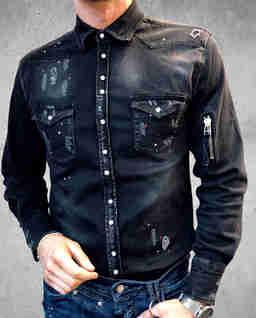 Czarna koszula jeansowa Riot