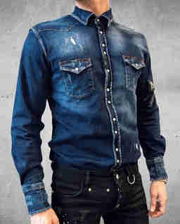 Granatowa koszula jeansowa Riot