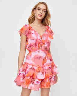 Różowa sukienka z falbanami Vixen Mini