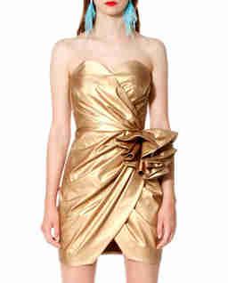 Złota sukienka bez ramiączek Alessandra
