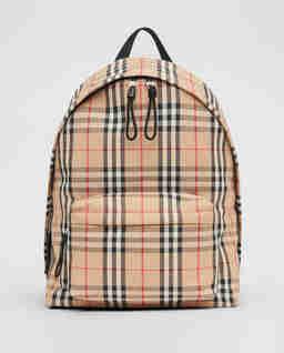 Beżowy plecak w kratę