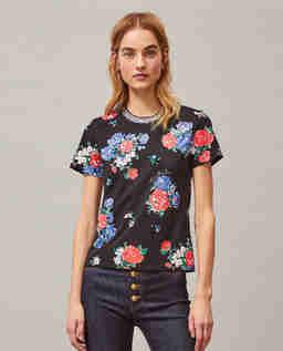 Czarna koszulka w kwiaty