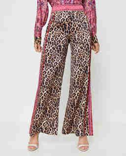 Jedwabne spodnie w panterkę
