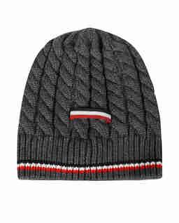 Szara czapka z paskami