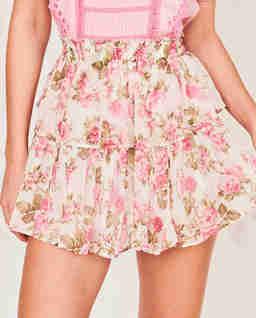 Krótka spódnica w róże