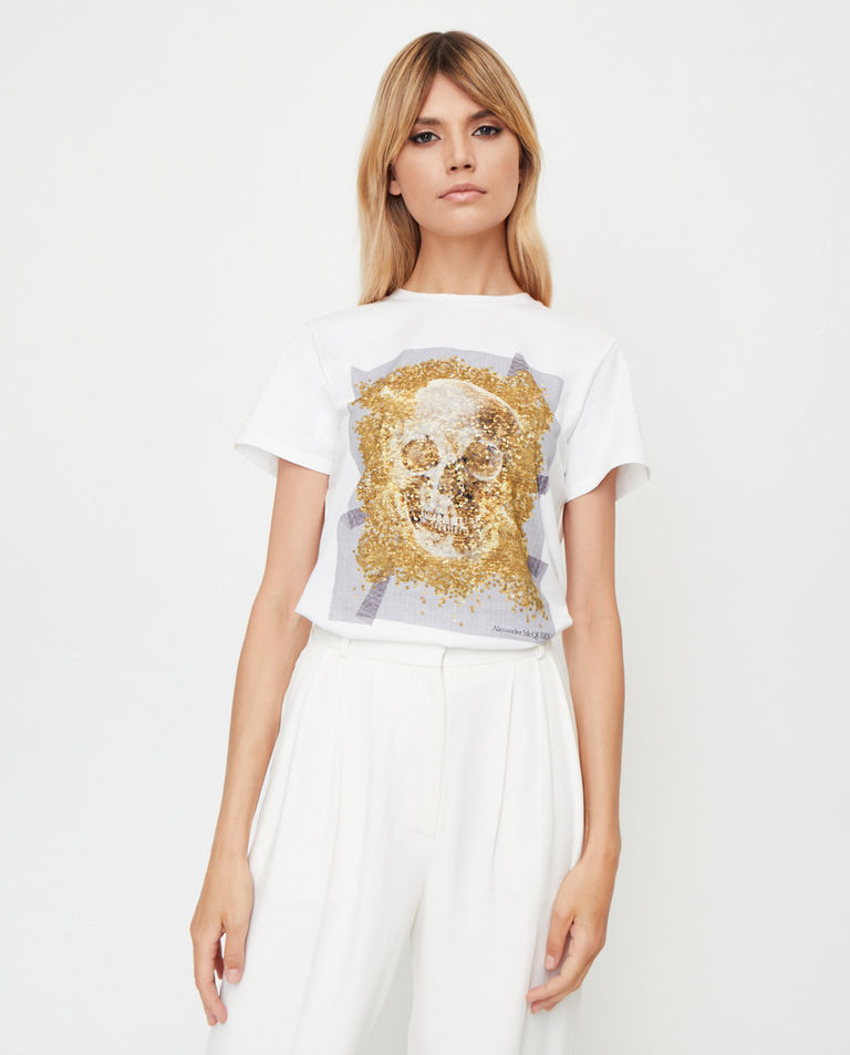 Biała koszulka z czaszką Alexander McQueen