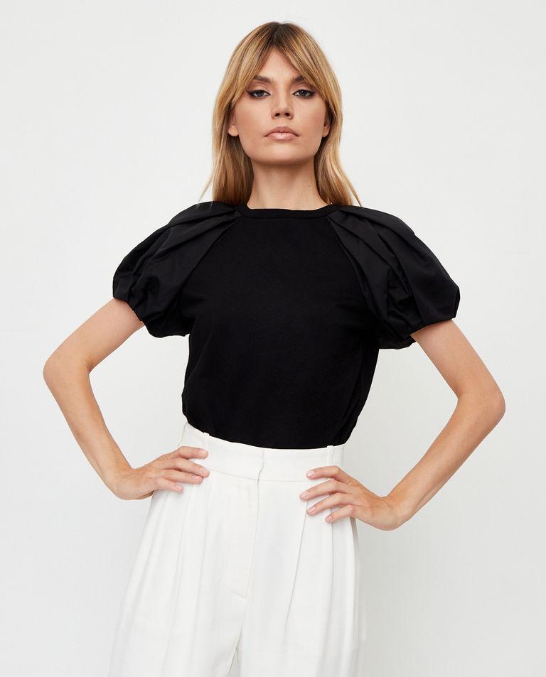 Czarna bluzka z bufiastymi rękawami Alexander McQueen