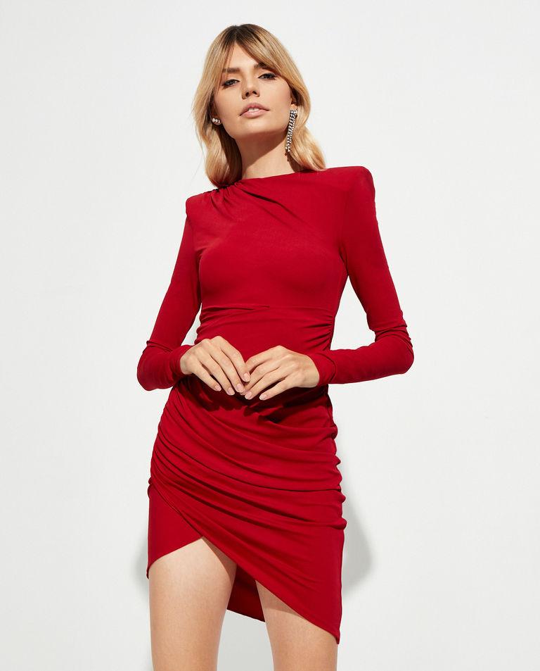 Czerwona sukienka z asymetrycznym dołem Alexandre Vauthier