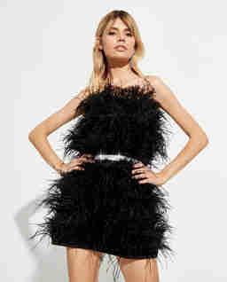 Czarna sukienka mini Feather Splash