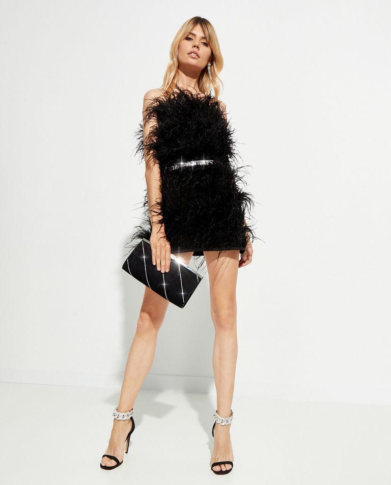 Czarna sukienka mini Feather Splash T-Dress