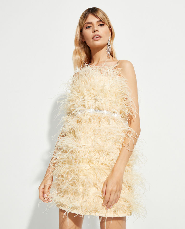 Beżowa sukienka mini Feather Splash T-Dress