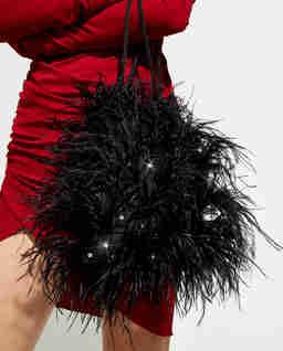 Czarna torebka z kryształami Feather Splash