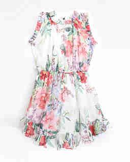 Biała sukienka w kwiaty Bellitude Flip 2-10 lat