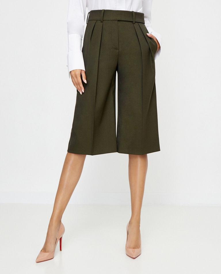 Ciemnozielone spodnie z szerokimi nogawkami Alexandre Vauthier