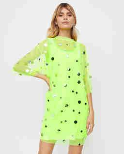 Neonowa sukienka mini