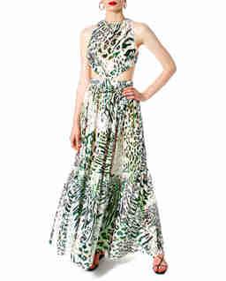 Sukienka maxi w zwierzęcy wzór Serena Seafoam