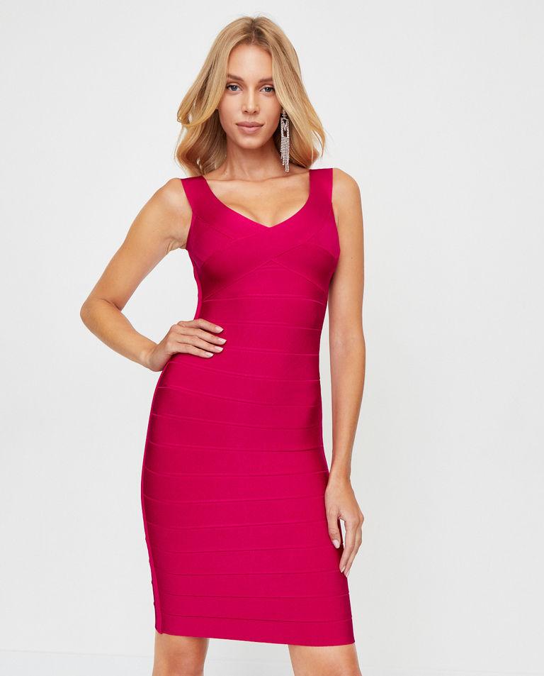 Różowa sukienka bandażowa Herve Leger