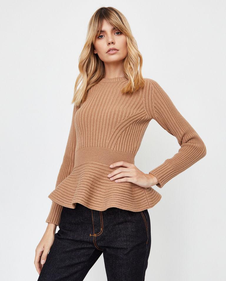 Beżowy sweter z wełny Alexander McQueen
