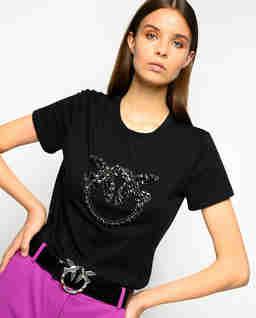 Czarny t-shirt z kryształami Quentin