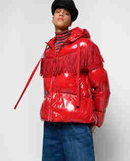 Czerwona kurtka z frędzlami Donato