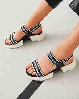 Skórzane logowane sandały