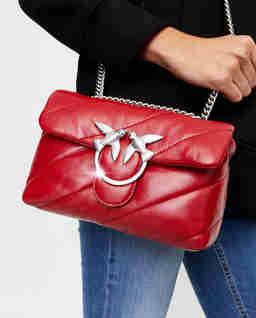 Czerwona torebka ze skóry Love Mini Puff