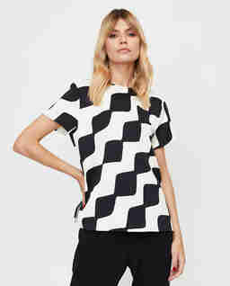 Czarno-biała bluzka Bolero