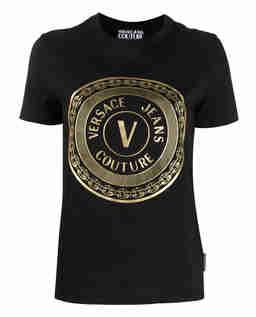 Czarny t-shirt ze złotym nadrukiem