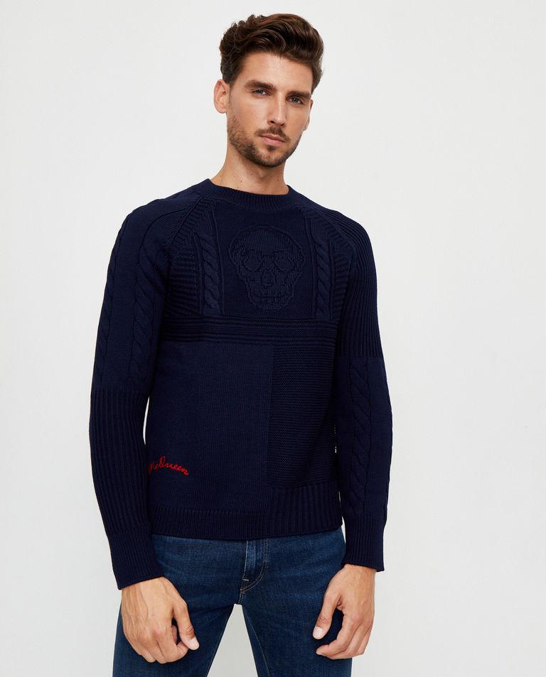 Granatowy sweter z wełny Alexander McQueen