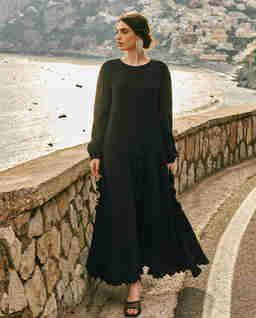 Lniana sukienka maxi z falbanami BUONASERA