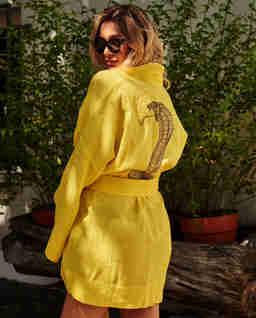 Żółta tunika kimono z aplikacją GABBIANO
