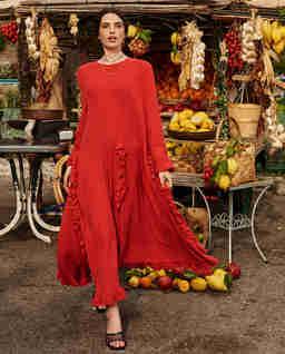 Czerwona sukienka maxi z falbanami z lnu BUONASERA