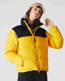 Żółta kurtka puchowa z logo