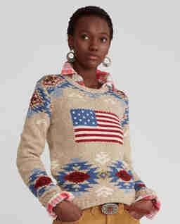 Wełniany sweter z flagą