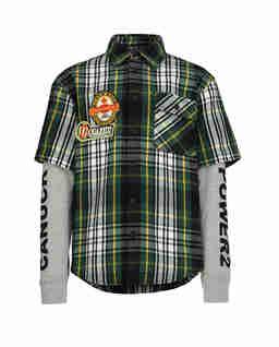 Koszula w kratę z rękawami bluzy 4-16 lat