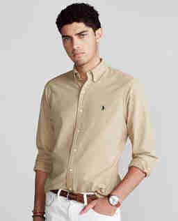 Beżowa koszula Oxford Slim Fit