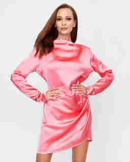 Satynowa sukienka Barbosa z długim rękawem