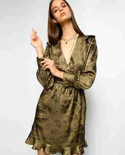 Złota sukienka z falbanami Fernando