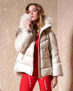 Beżowa kurtka z cekinami Clio