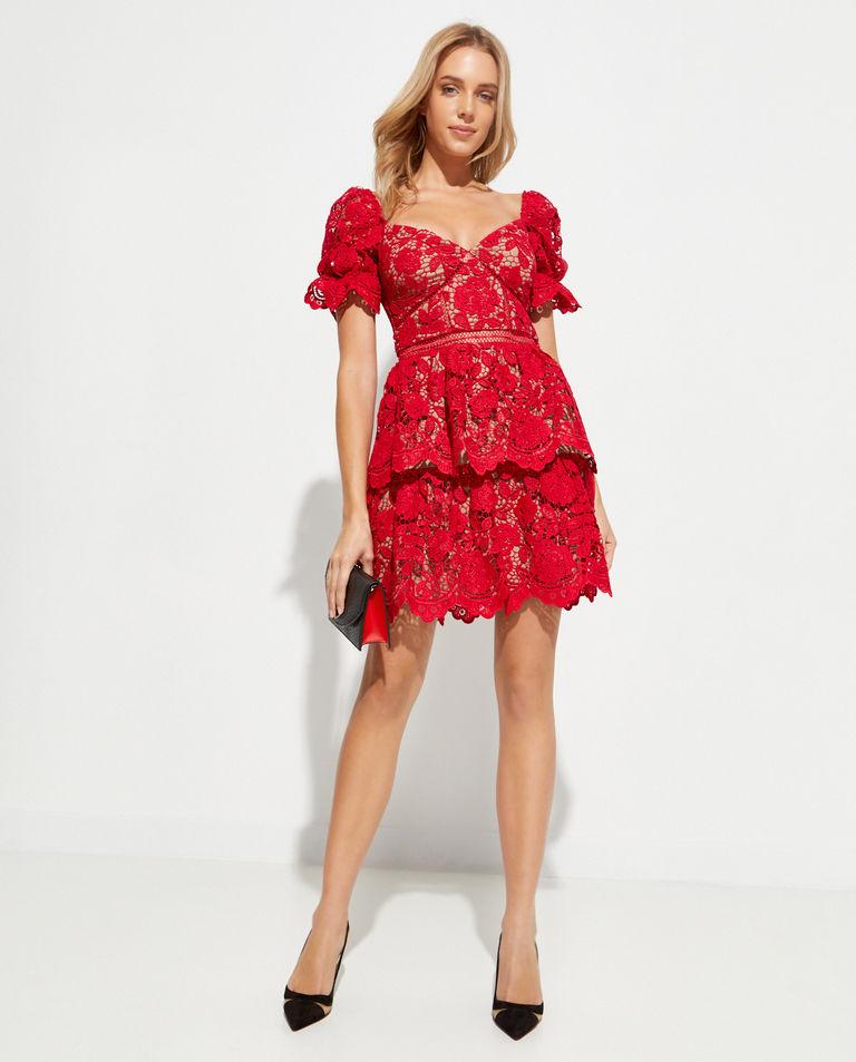 Czerwona sukienka z koronki Self Portrait