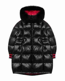 Czarny płaszcz puchowy Fatale 4-12 lat