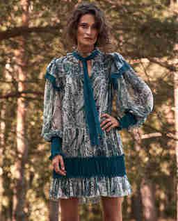 Jedwabna sukienka z printem Phoebe