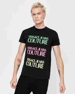 Czarna koszulka z kolorowym nadrukiem