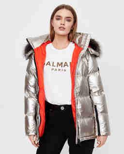Metaliczna kurtka puchowa z kapturem