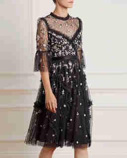Černé midi šaty Shimmer Ditsy