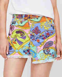 Spódnica mini z kolorowym nadrukiem